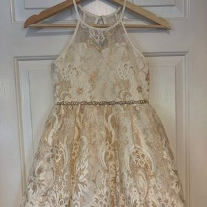 Rare Edition Cream & Gold brocade dress
